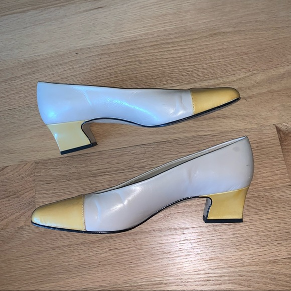 Off White And Yellow Womens Low Heels